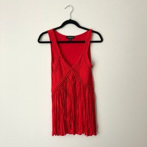 Bright Red Tank Top with Fringe
